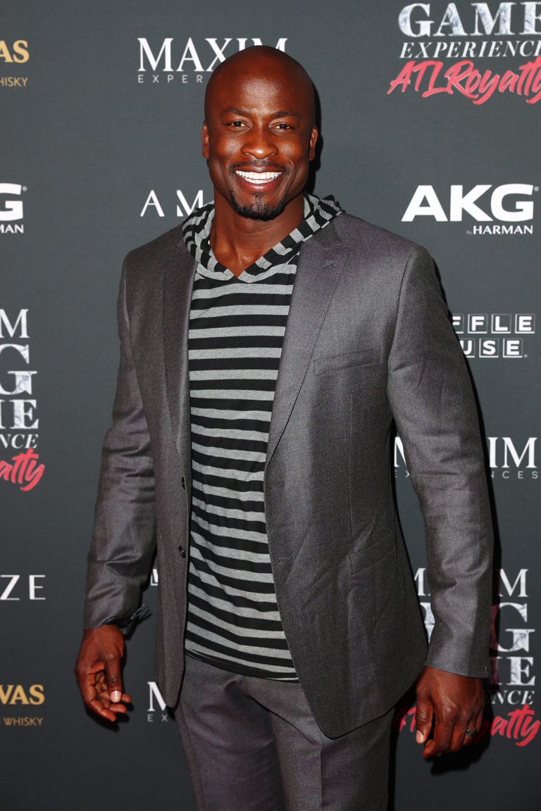 Akbar Gbaja-Biamila  attends The Maxim Big Game Experience (Photo by Joe Scarnici/Getty Images for Maxim)