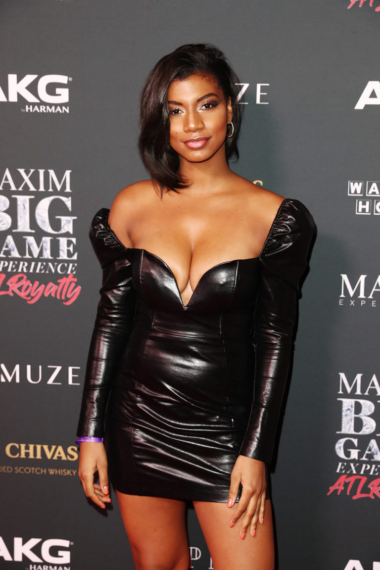 Taylor Rooks attends The Maxim Big Game Experience (Photo by Joe Scarnici/Getty Images for Maxim)