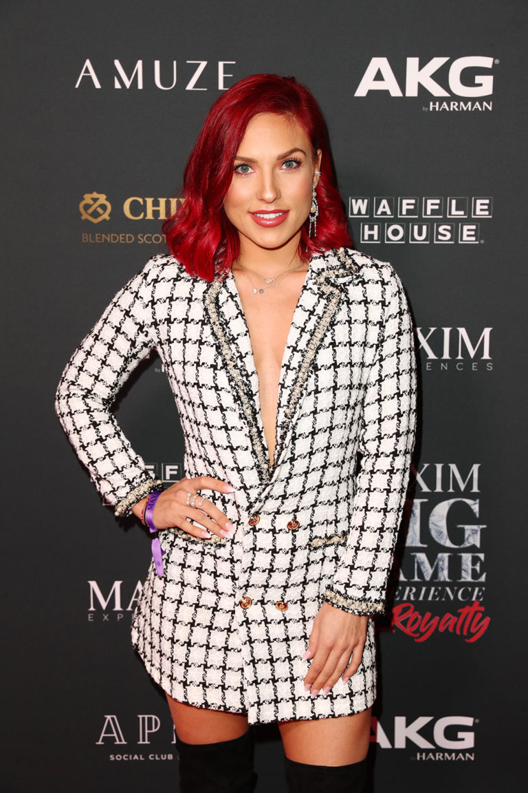 Sharna Burgess attends The Maxim Big Game Experience (Photo by Joe Scarnici/Getty Images for Maxim)