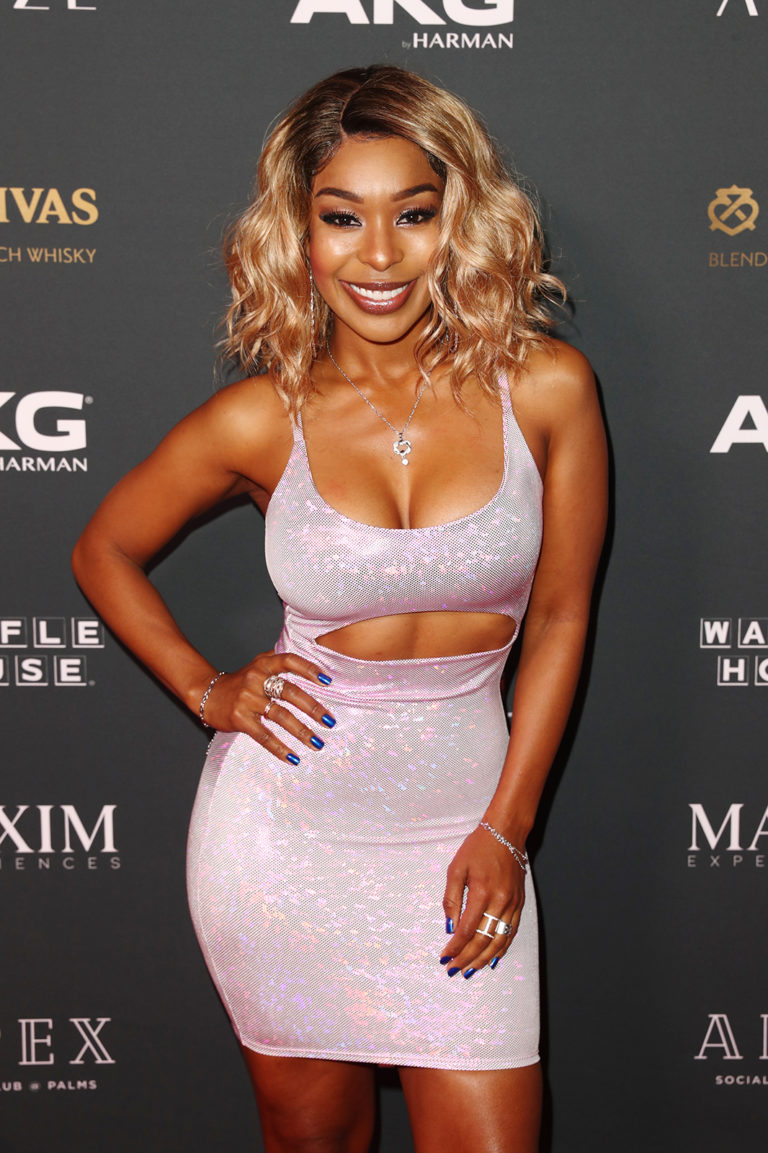Porscha Coleman attends attends The Maxim Big Game Experience (Photo by Joe Scarnici/Getty Images for Maxim)