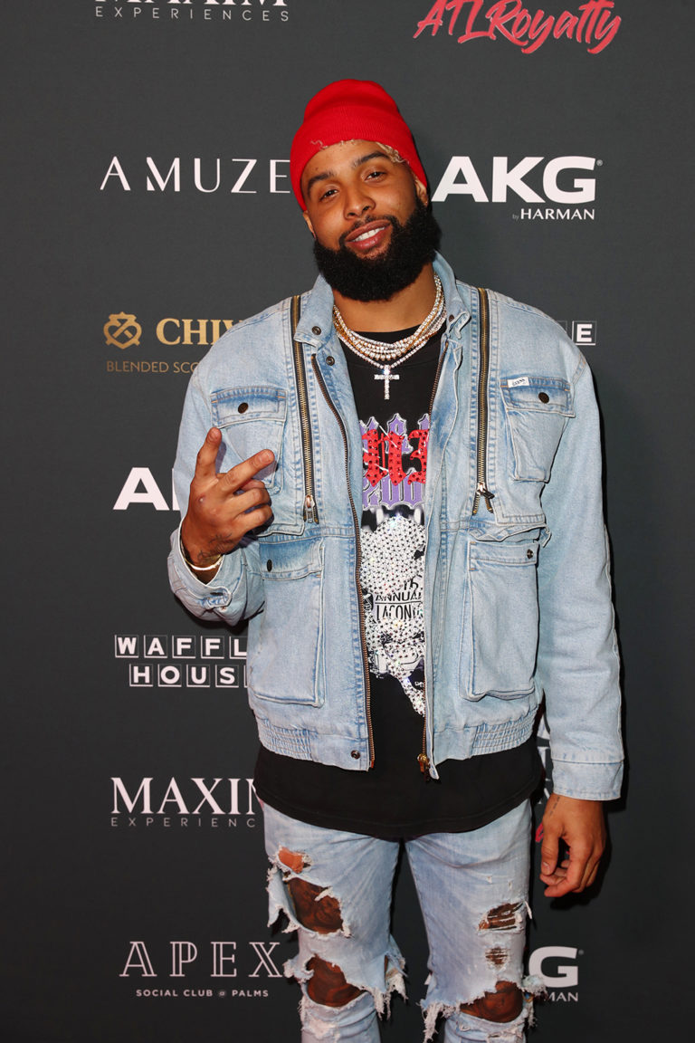 Odell Beckham Jr. attends The Maxim Big Game Experience (Photo by Joe Scarnici/Getty Images for Maxim)