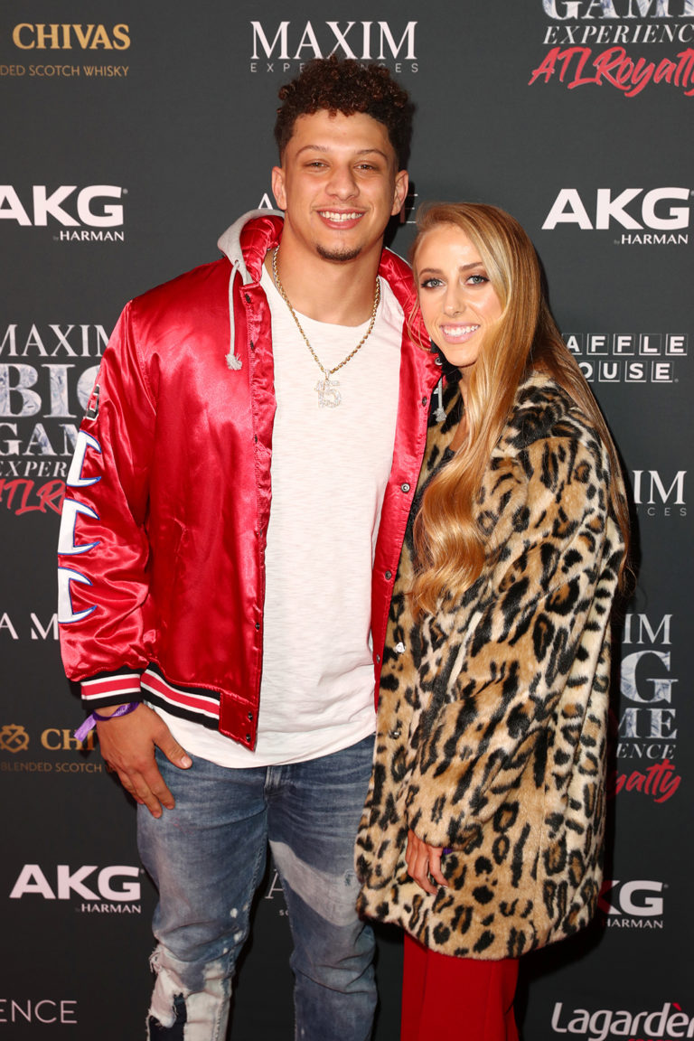 Patrick Mahomes II (L) and Brittany Matthews attends The Maxim Big Game Experience (Photo by Joe Scarnici/Getty Images for Maxim)