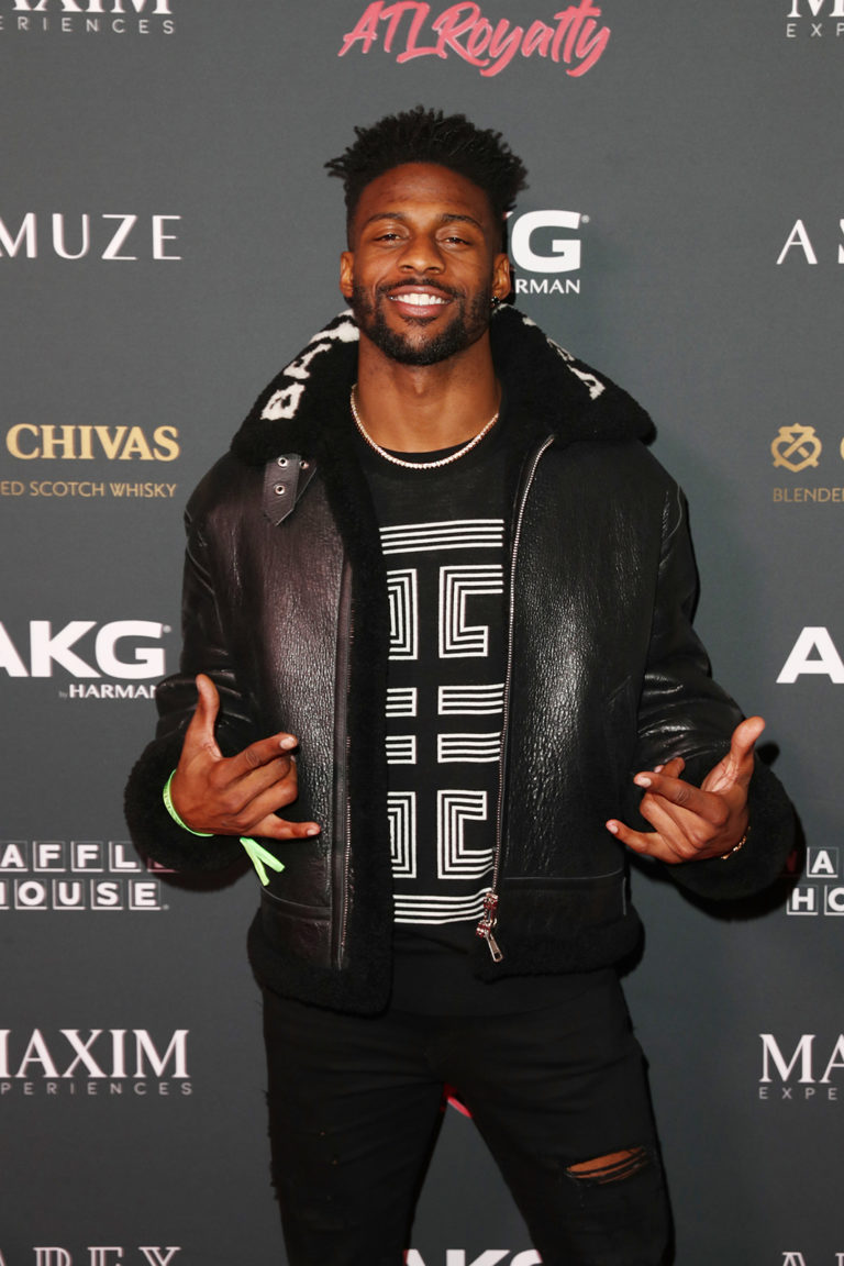 ATLANTA, GEORGIA - FEBRUARY 02: Emmanuel Sanders attends The Maxim Big Game Experience at The Fairmont on February 02, 2019 in Atlanta, Georgia. (Photo by Joe Scarnici/Getty Images for Maxim)