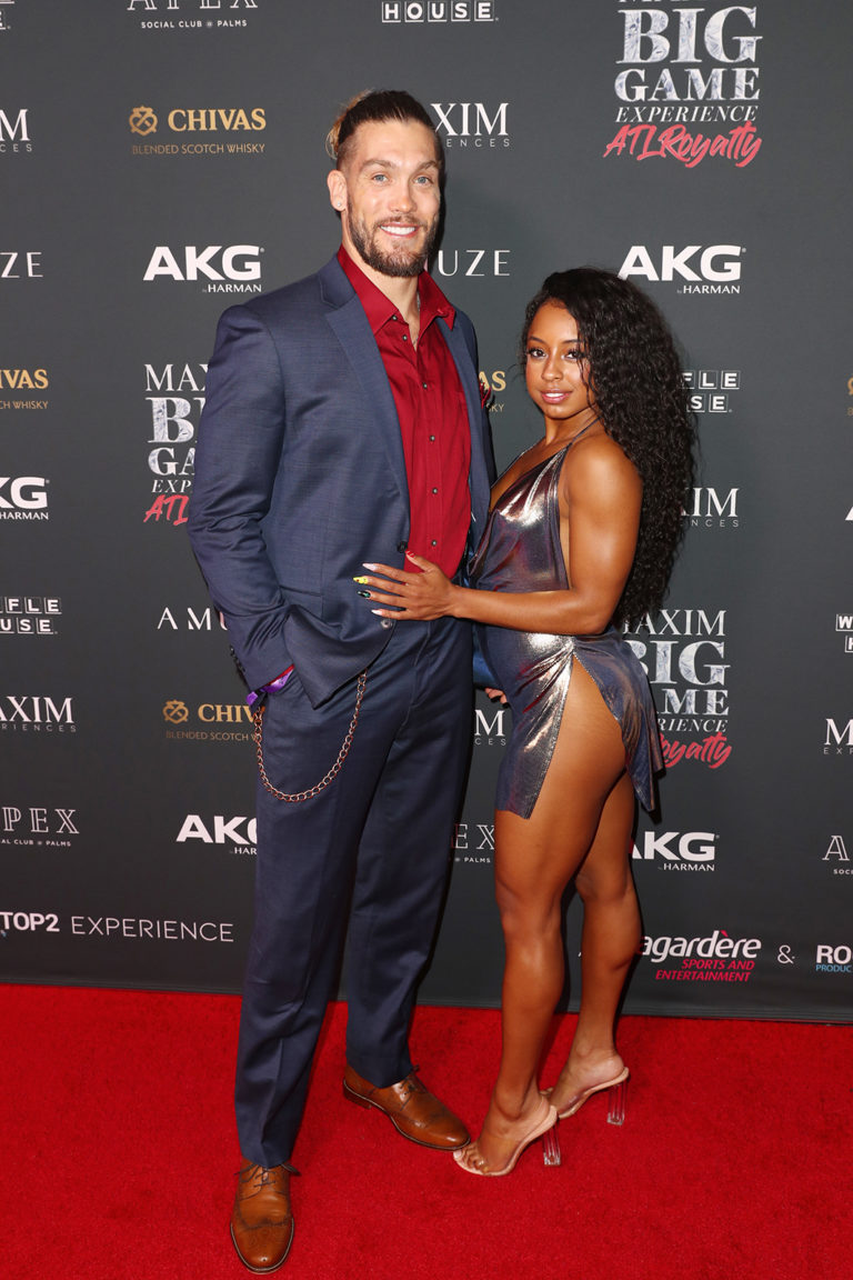 Bryan Bramman (L) and Qimmah Russo attends The Maxim Big Game Experience (Photo by Joe Scarnici/Getty Images for Maxim)
