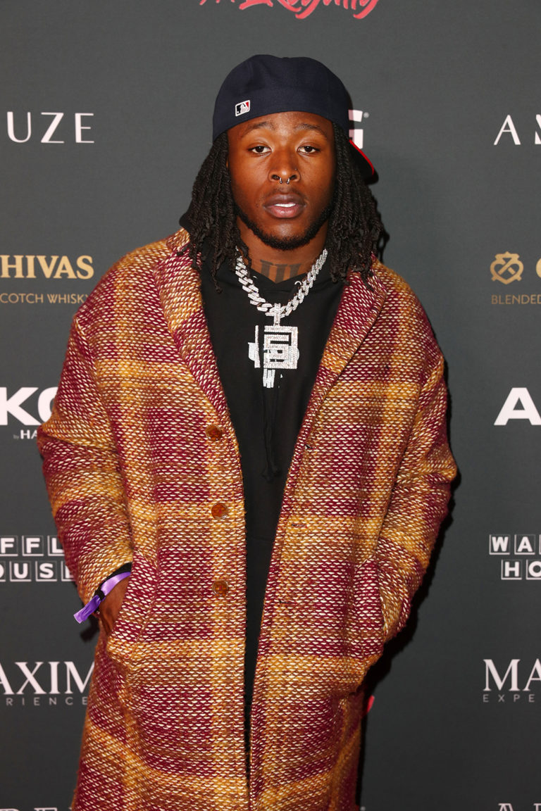 Alvin Kamara attends The Maxim Big Game Experience (Photo by Joe Scarnici/Getty Images for Maxim)
