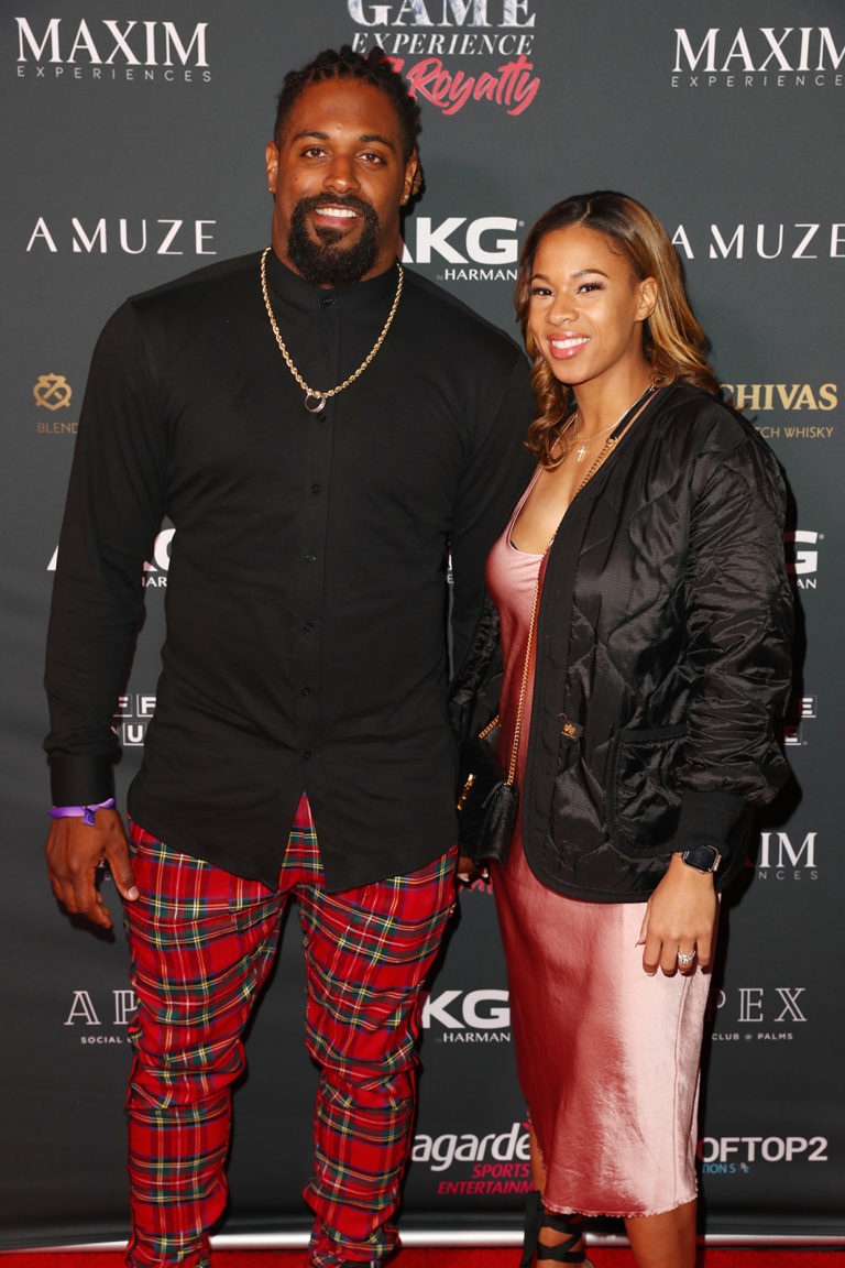 Cameron Jordan (L) and Nikki Jordan attends The Maxim Big Game Experience (Photo by Joe Scarnici/Getty Images for Maxim)